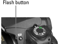 The flash button on a Nikon camera.