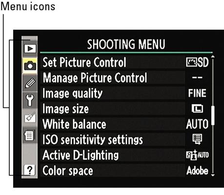 The Nikon D90 Main Menu.
