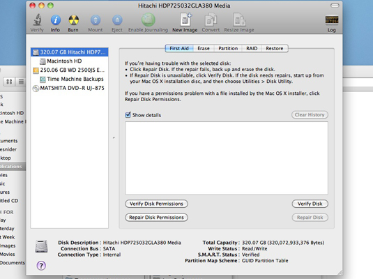The First Aid pane displays a list of volumes on your Mac.