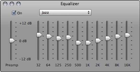 Use the Equalizer sliders to tweak the sound of your music.