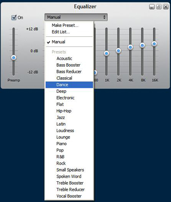 Select a built-in equalizer preset.