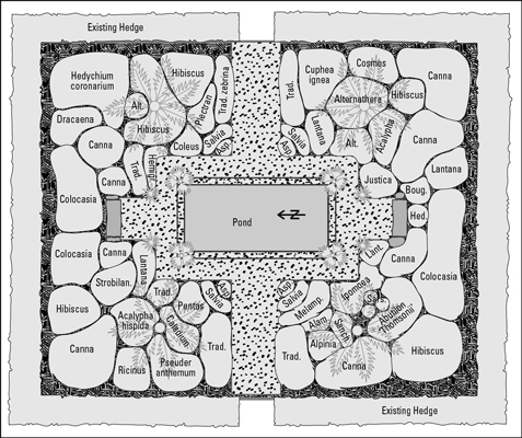 This plan for a formal garden features balance and symmetry for calm elegance.