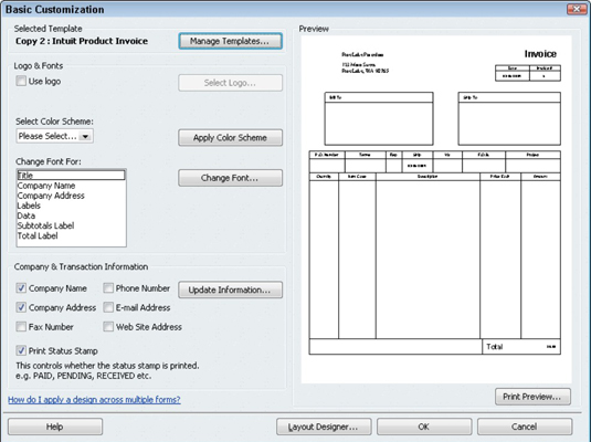 how to create a customized invoice form in quickbooks 2010 - dummies, Invoice templates