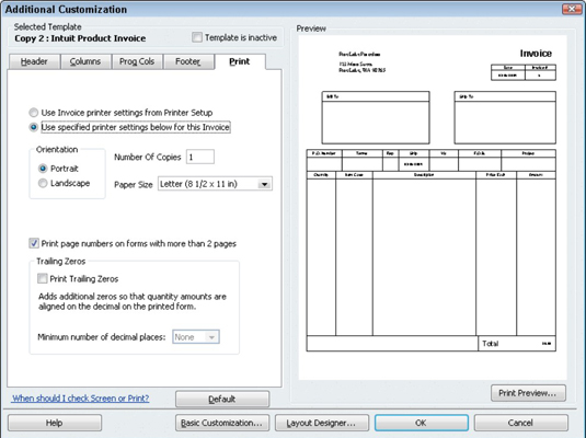 edit quickbooks invoice template  How to Create a Customized Invoice Form in QuickBooks 2010 - dummies