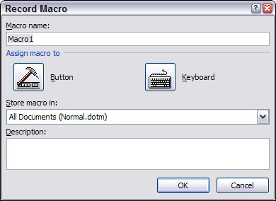 The Record Macro dialog box.