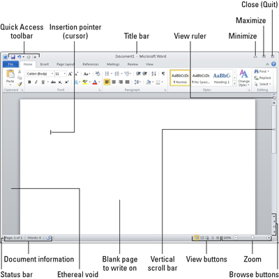 How to quit microsoft word 2010 dummies clicking the minimize button shrinks the word window to the taskbar where it exists as a button with the word program window out of the way ccuart Image collections