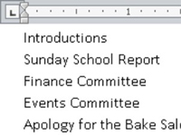 A two-column list in Word.