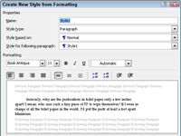 Create New Style dialog box in Word.