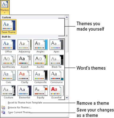 how to apply a document theme in word 2010 dummies