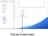 The Create button in Word's File tab.