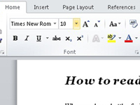 The Font and Type size menus in Word.