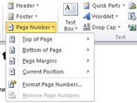 Word drop-down menu listing various page-numbering options