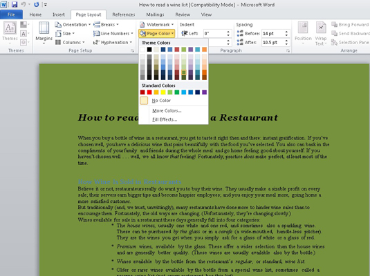 1click the page color command button on the page layout tabs page background group