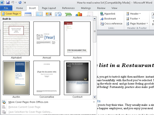 How to add a cover page to a word 2010 document dummies menu with cover page options for a word document spiritdancerdesigns