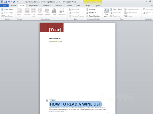 how to add a cover page to a word 2010 document