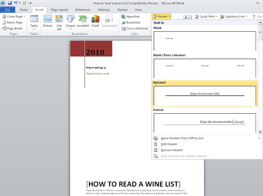 How to Add a Header or Footer to a Word 2010 Document - dummies
