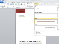 The Header menu in Microsoft Office.