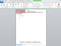Editing the header of a Word document.