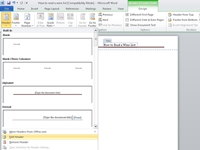 The Header drop-down menu in Microsoft Word.