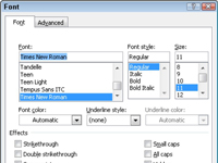 Word's Font dialog box.