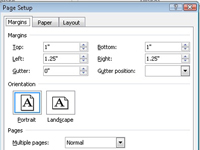 Page Setup dialog box in Office Word.