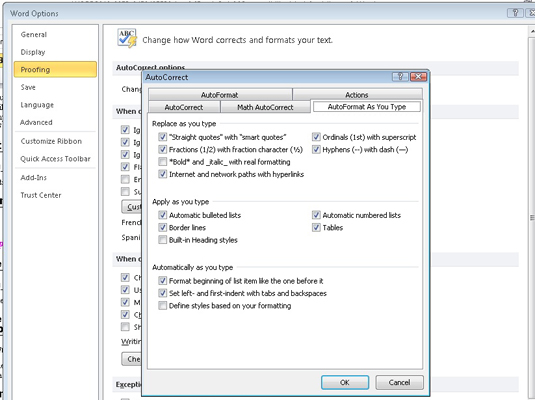 how to turn on autocorrect in word 2010