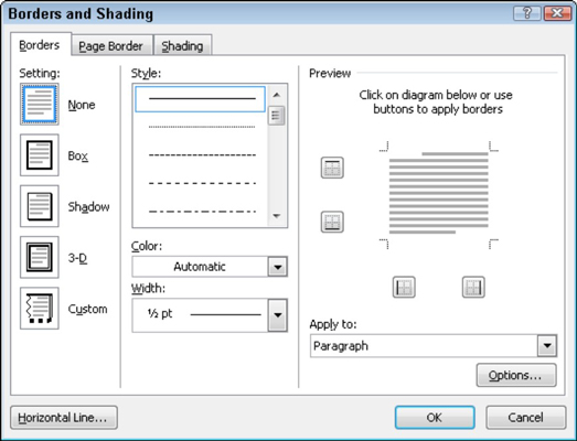 How to put a border around a page of a word 2010 document dummies words borders and shading dialog ccuart Images
