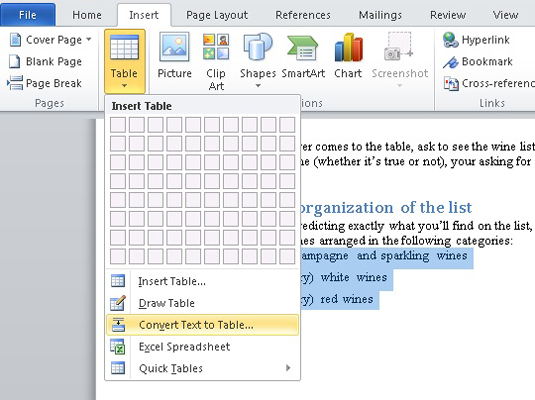 How To Convert Text To Table In Word 2010 Dummies