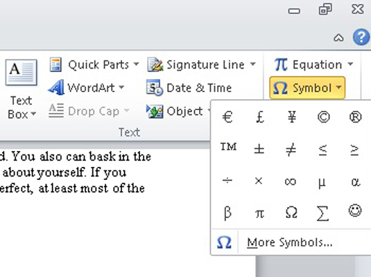 How To Insert Special Characters And Symbols In Word 2010 Dummies