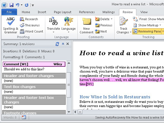 How to Add Comments in a Word 2010 Document - dummies