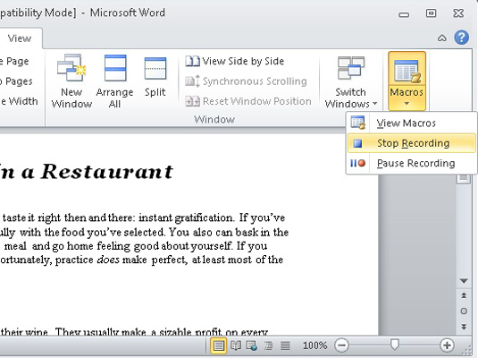 How to Make a Macro in Word 2010 - dummies