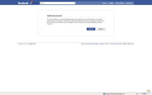 How to delete your facebook account for good dummies 2read this screen and then click submit the permanently delete account ccuart Images