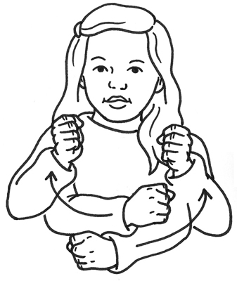 Girl signs she is safe in American Sign Language.