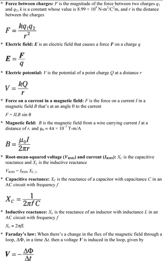 Physics Equations For Electricity And Magnetism Dummies
