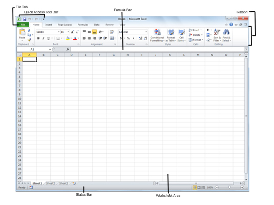 The Excel 2010 program window that appears when you start the program.