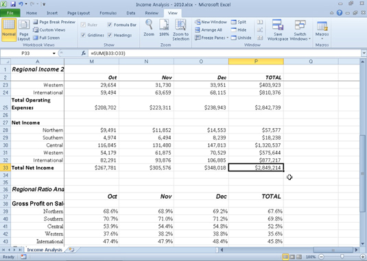 Use the scroll bars to navigate to unseen parts of an Excel 2010 worksheet.