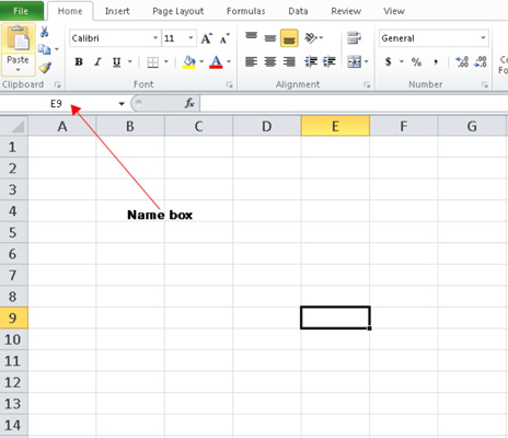 A black border surrounds the active cell in an Excel 2010 worksheet.