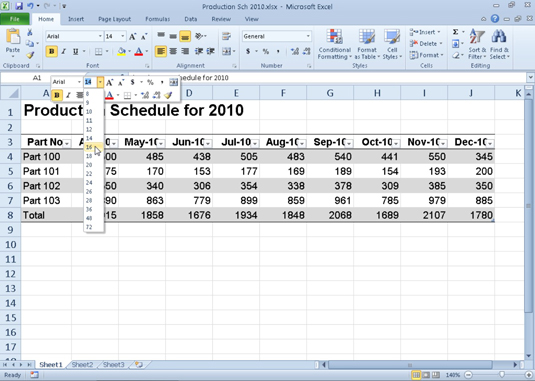 Apply common formatting changes with the mini toolbar in Excel 2010.