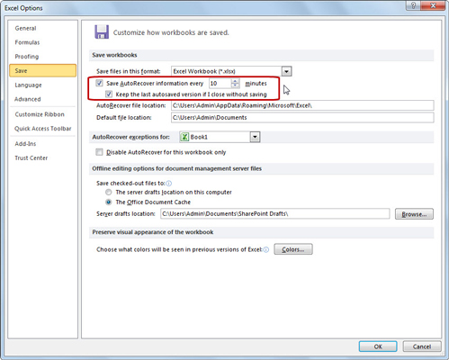 Change AutoRecover settings in the Excel Options dialog box.
