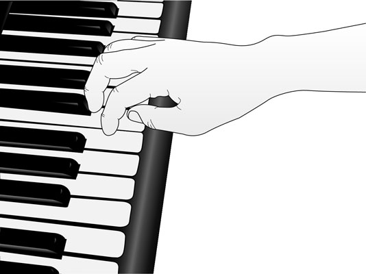 Crossing over your thumb to play more notes.