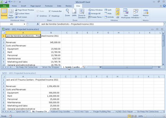 Comparing Two Excel 2010 Worksheets Side by Side - dummies