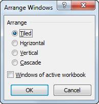 Select the desired Arrange setting in the Arrange Windows dialog box.