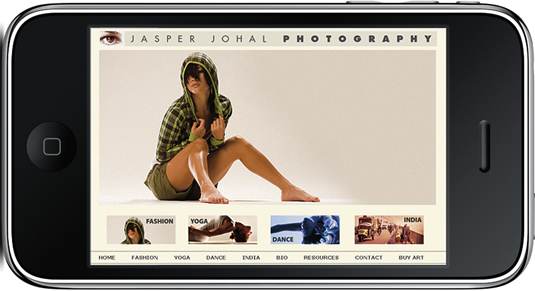 Preview of a photography web page on an iPhone.