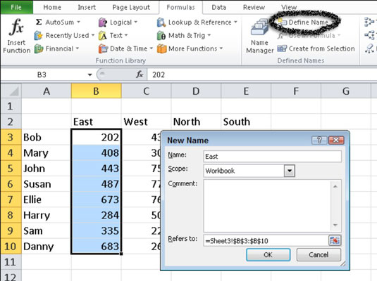 How to Name a Cell or Range in Excel 2010 - dummies
