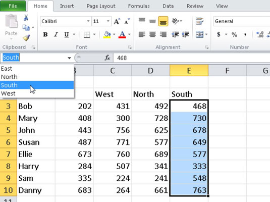 You can select a range name in the Name box to quickly locate an area of a worksheet.