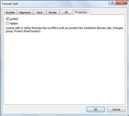 Use the Protection tab in the Format Cells dialog box to unlock cells.