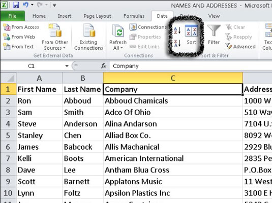 how to put data in ascending order on excel