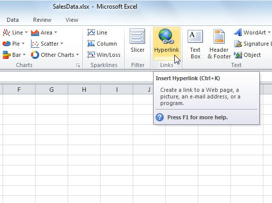 How to insert a hyperlink to a different cell in an excel 2010 1select a cell or graphic to which you want to attach a hyperlink ccuart Images