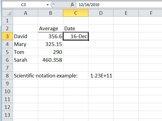 Excel 2010's Three Data Types and Their Default Formats