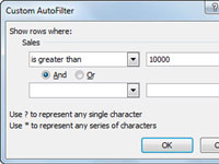 The Custom AutoFilter box in Excel.